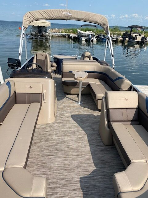 blue pontoon front